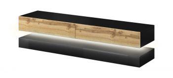 TV Meubel Zwevend Hout & Zwart 140 cm Modern - LED