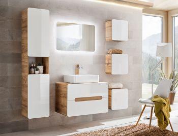 Badkamer Meubelset Waskom 80 cm Wit Eiken - Brigitte