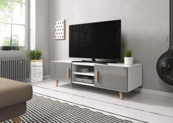 TV Kast Hoogglans Grijs 140 cm - Scandinavisch Design