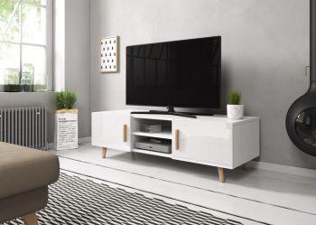 TV Kast Hoogglans Wit 140 cm - Scandinavisch Design
