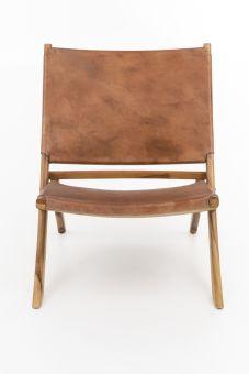 Loungestoel leer bruin