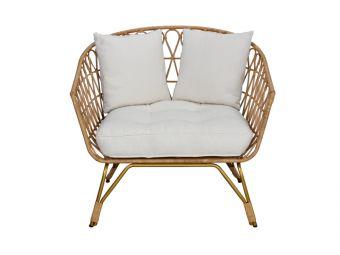 Rotan fauteuil met kussens