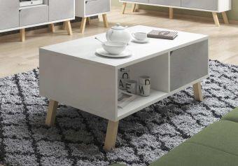 Salontafel Scandinavisch - Wit & Mat Grijs - 110 cm