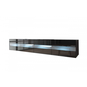TV Meubel Zwevend Zwart 200 cm Modern - LED