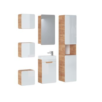 Badkamer Meubelset met Spiegelkast 40 cm Wit Eiken - Brigitte
