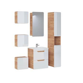 Badkamer Meubelset Spiegelkast 7 delig 50 cm Wit Eiken - Brigitte