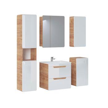 Badkamer Meubelset met Spiegelkast 60 cm Wit Eiken - Brigitte