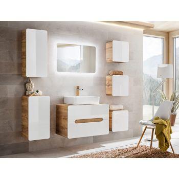 Badkamer Meubelset 7 delig 80 cm Wit Eiken - Brigitte
