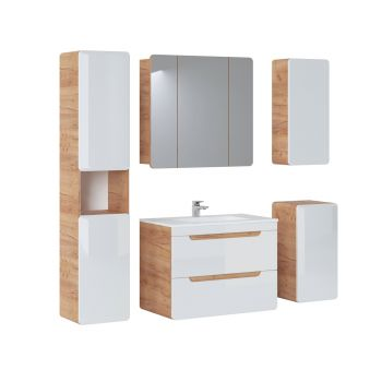 Badkamer Meubelset met Spiegelkast 80 cm Wit Eiken - Brigitte