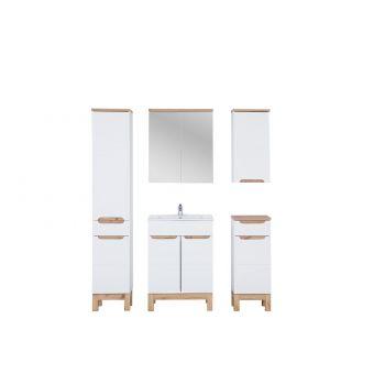 Badkamer Meubel Set 60 cm Wit Eiken - Bloom