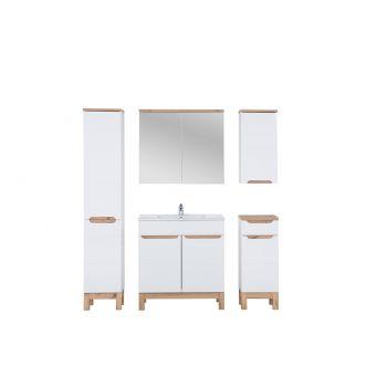 Badkamer Meubel Set met Wasmand 80 cm Wit Eiken - Bloom