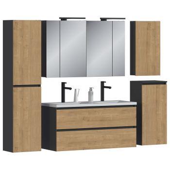 Badkamer Meubelset met Spiegelkast Eiken Grijs Wit 140 cm - Bastiana