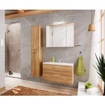 Badkamer Meubelset met Spiegelkast Eiken Zilver 80 cm - Brechje