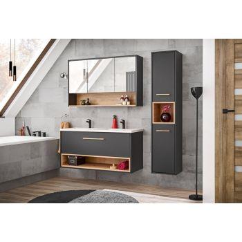 Badkamer Meubelset met Spiegelkast Grijs Eiken 120 cm - Bianca
