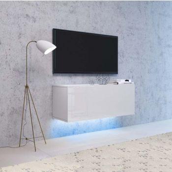 Hangend TV meubel Wit & Hoogglans Wit & LED - 100 cm