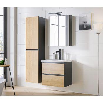 Badkamer Meubelset met Spiegelkast Eiken Grijs 60 cm - Bastiana