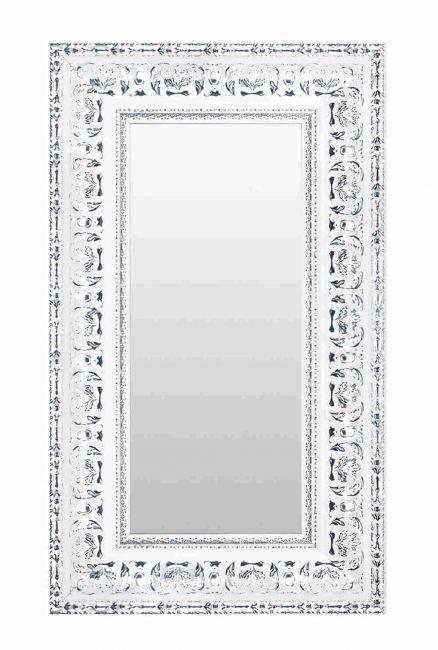 Barok Spiegel Zilver Wit 52x102 cm - Nisha