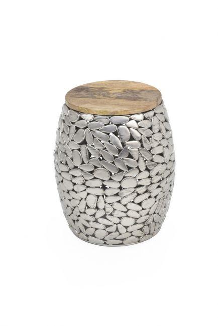 Bijzettafel zilver met Hout