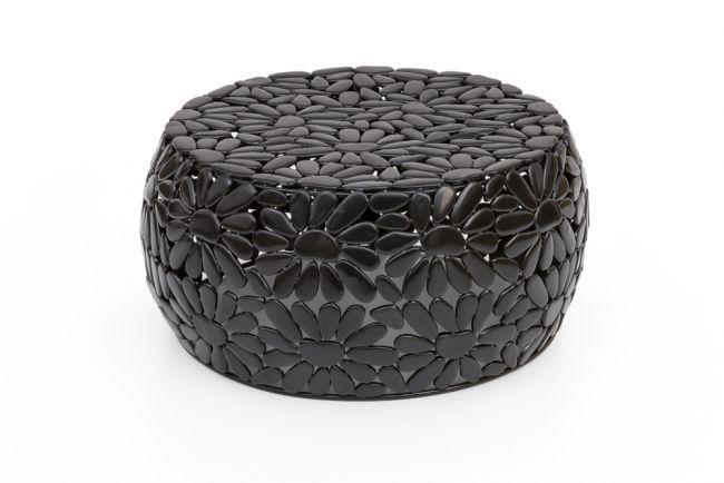 Bijzettafel zwart metaal 56 cm