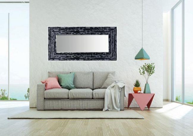 Brocante Spiegel Zwart Zilver 62x152 cm - Charly