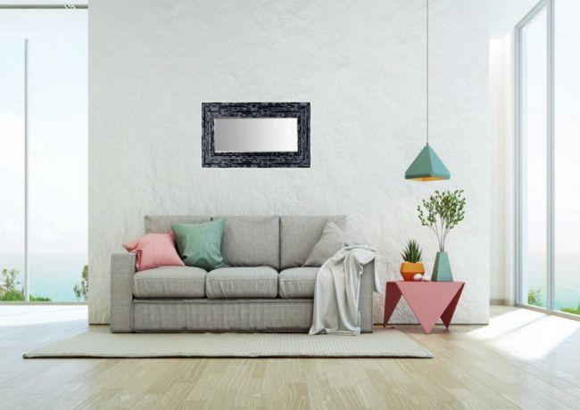 Brocante Spiegel Zwart Zilver 70x90 cm - Charly