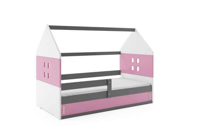 Kinderbed Huisje 80x160 cm - Grijs & Roze
