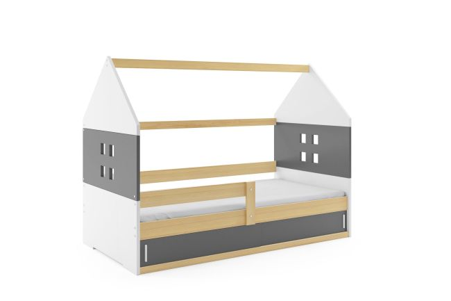 Kinderbed Huisje 80x160 cm - Hout & Grijs