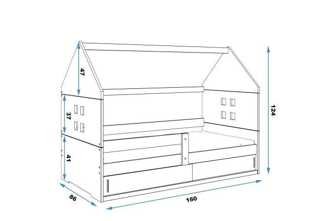 Kinderbed Huisje 80x160 cm - Wit & Blauw