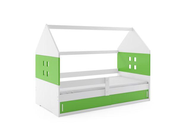 Kinderbed Huisje 80x160 cm - Wit & Groen