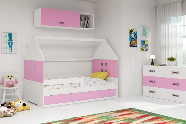 Kinderbed Huisje 80x160 cm - Wit & Roze