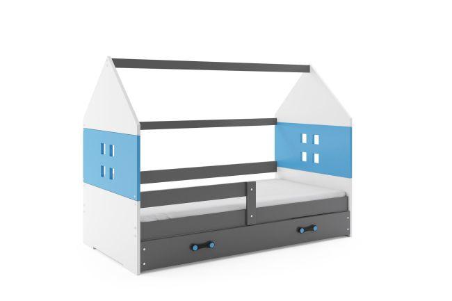 Kinderbed Huisje Grijs & Blauw 80x160 cm