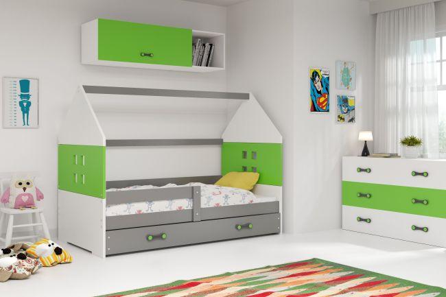 Kinderbed Huisje Grijs & Groen 80x160 cm