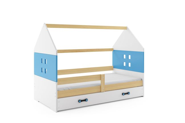 Kinderbed Huisje Hout & Blauw 80x160 cm