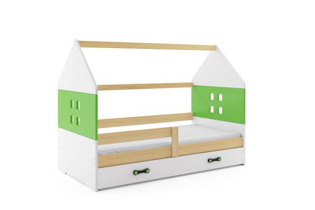 Kinderbed Huisje Hout & Groen 80x160 cm