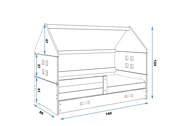 Kinderbed Huisje Wit 80x160 cm