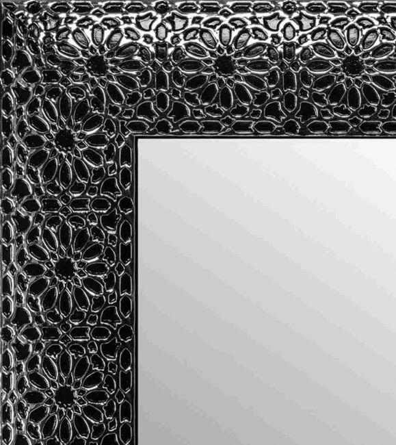 Spiegel Zwart Zilver 55x105 cm - Flora