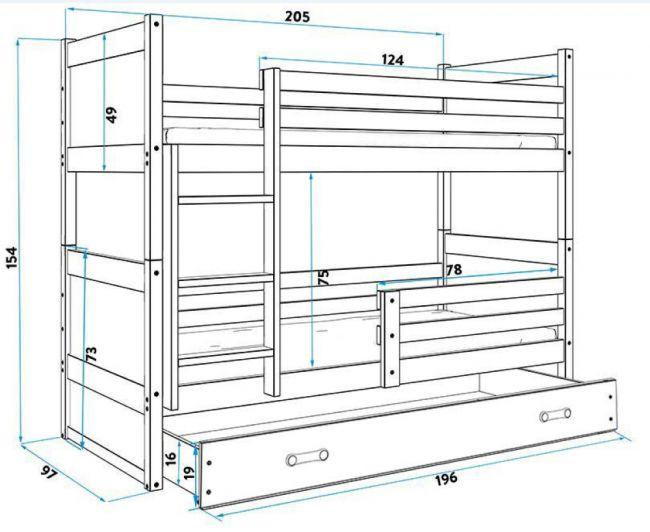 Antraciet Grijs Massief Houten Stapelbed 90x200 cm - ´Massive Life Grey'