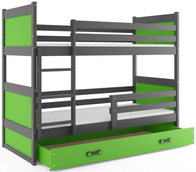 Antraciet Groen Massief Houten Stapelbed 80x160 cm - ´Massive Life Green'