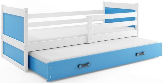 Bed met Onderbed Wit Blauw 90 x 200 - `Kids Life Blue'