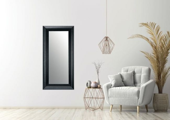 Moderne Spiegel Zwart Zilver 57x147 cm - Zoe