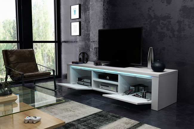 Tvmeubel Hoogglans Wit & Grijs 140 cm - Modern Design