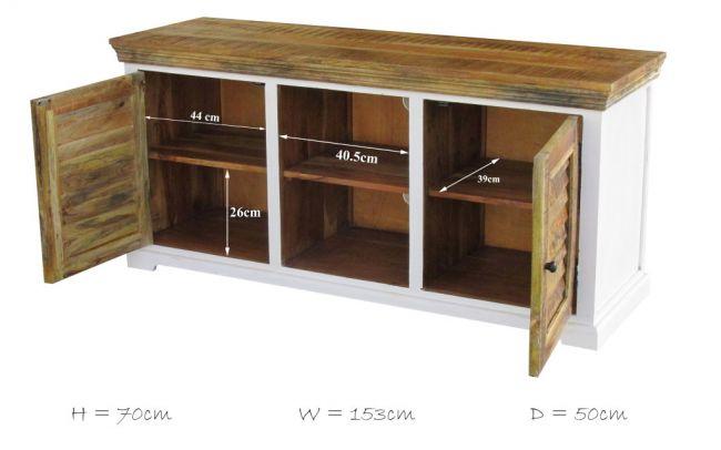TV meubel wit Mangohout