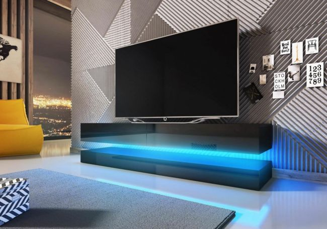 TV Meubel Zwevend Zwart 140 cm Modern - LED