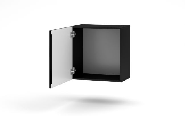 Wandmeubel Set # 3 - 4 delig & LED - Zwart & Hoogglans Zwart