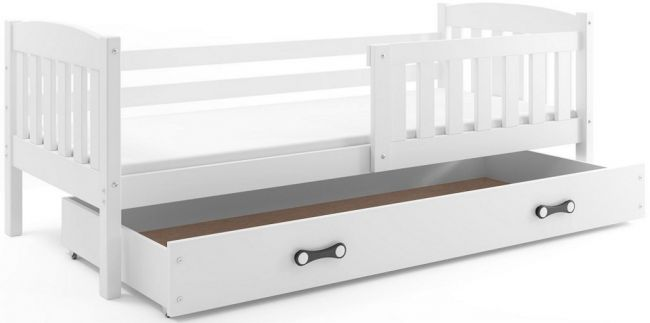 Wit Houten Bed met opbergruimte 90x200 cm - `Rookie Solid White´